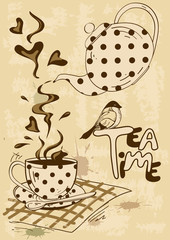 Tea party invitation with teapot and teacup