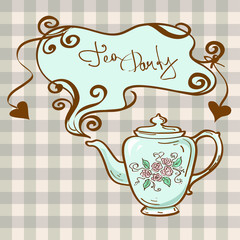 Tea party invitation with teapot