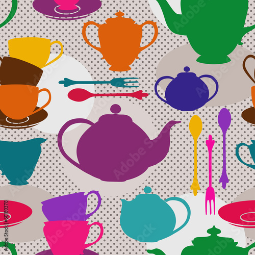 Seamless pattern of tea set