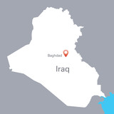 white map of Iraq with the indication of Baghdad