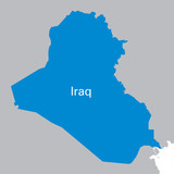 blue map of Iraq
