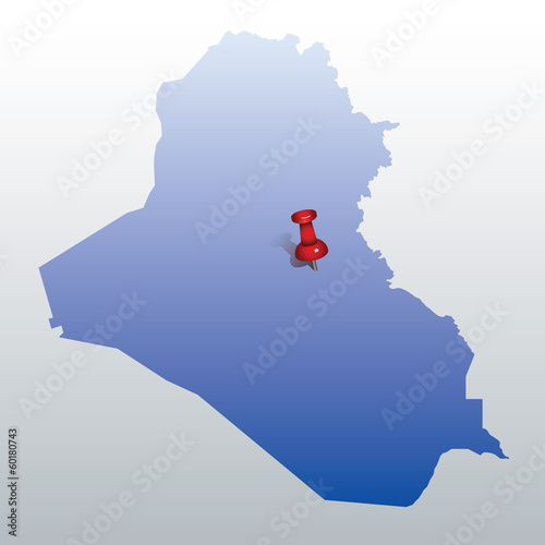 blue map of Iraq with red push pin