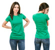 Brunette with blank green shirt