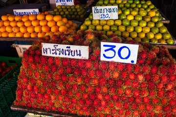 Fruits for sale in Kanchanaburi, Thailand
