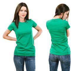 Brunette with blank green shirt
