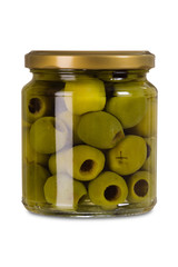 Isolated jar of olives