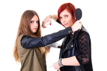 Teen hairdressers concept