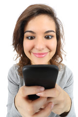 Pretty teenager girl happy with a smart phone