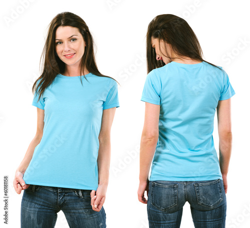 Brunette with blank light blue shirt