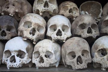 Stacked human skulls at the Killing Fields, Cambodia