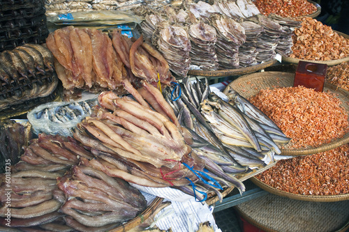 Dried fish on a market in Pnom Penh, Cambodia