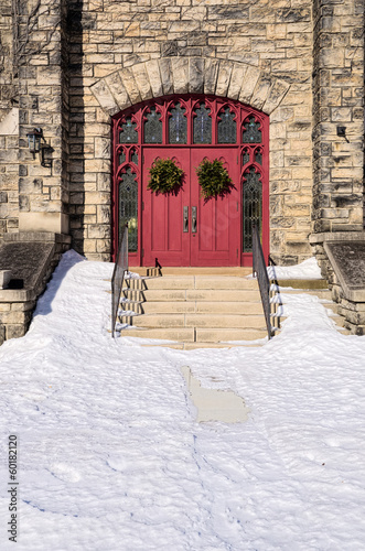 Red Church Doors with Wreaths