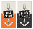 two labels with fork and red and black caviar