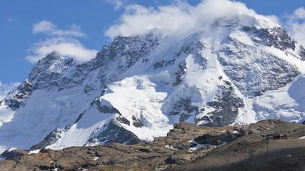 Clouds forming in motion time lapse summit Matterhorn, Zermatt