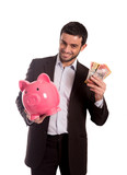 happy business man holding piggy bank with Australian Dollars