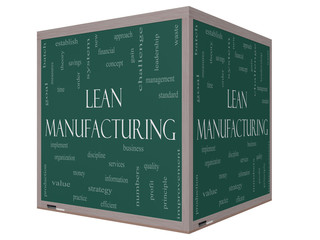 Lean Manufacturing Word Cloud Concept on a 3D cube Blackboard