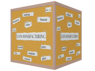 Lean Manufacturing 3D cube Corkboard Word Concept