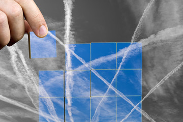 Puzzle with contrails in the sky