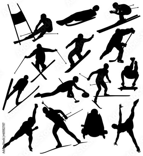 Silhouettes of Winter Sports