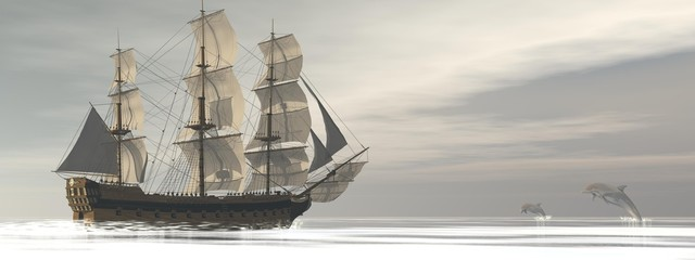 Old merchant ship and dolphins - 3D render