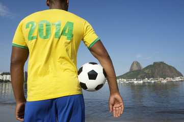 Brazilian Soccer Football Player Wearing 2014 Shirt Rio