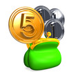 OpenedPursewith5+3Coins