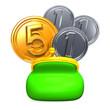OpenedPursewith5+3CoinsFrontView