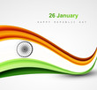 Stylish indian flag republic day beautiful tricolor wave design