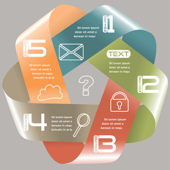 Infographics Options Infinite Ribbon Retro Color Five Choices