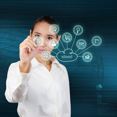 Business woman showing cloud computing. Concept of business mode