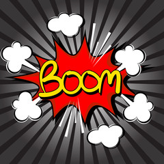 Boom with radial speed. comic speech bubble