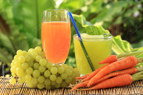 carrot juice and Grape smoothie