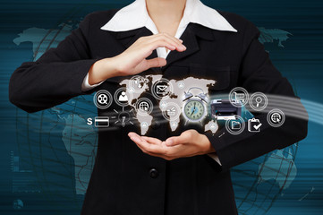 Business woman showing map and icon web symbol on hand
