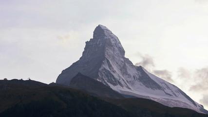 Time lapse view changing mountain colours, Matterhorn, Zermatt