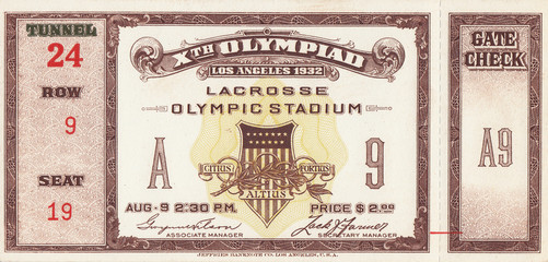 1932 Olympic Games LACROSSE Ticket