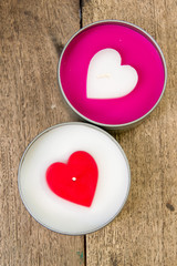 Valentines Hearts Candles  on wood
