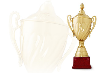 Golden trophy cup on red base on white background
