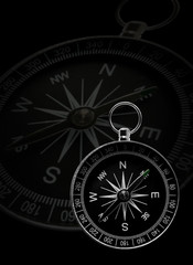 Classical compass, showing directions, on black