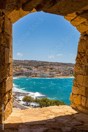 Naklejka City Rethymno on beach of Island Crete, Greece