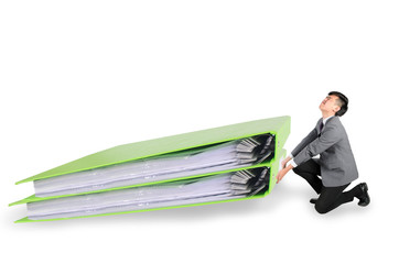 Businessman have big folder document in hard working concept