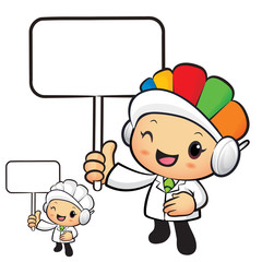 Clinical Dietitian Mascot the hand is holding a picket. Work and