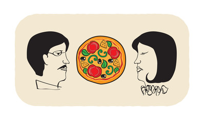 pizza and persons