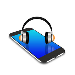 headphones on smartphone,cell phone illustration