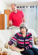 Family quarrel. Mature woman having problems
