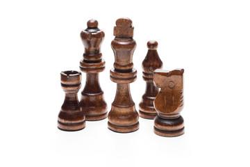 白背景にチェス駒のアップ