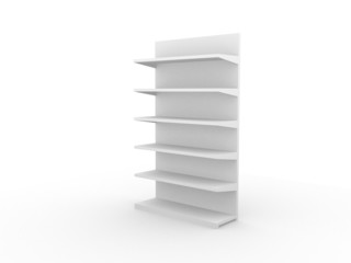3D shelves and shelf for wrap advertising on a white background