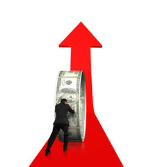 Rear view businessman pushing money circle on growing red arrow