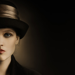Retro woman in hat vintage portrait