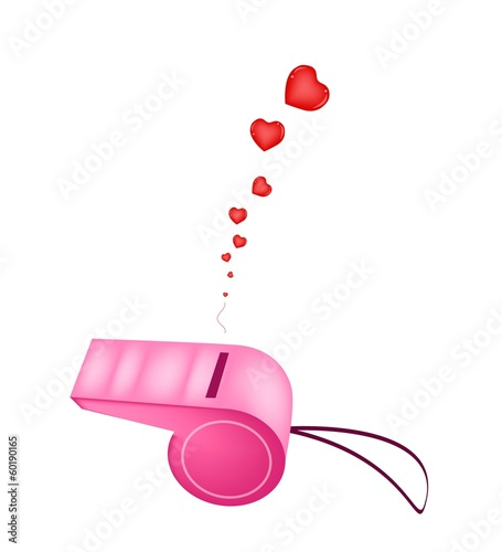 Pink Whistle Blowing Hearts On White Background