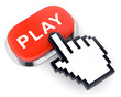 Red web video button Play and hand shaped cursor